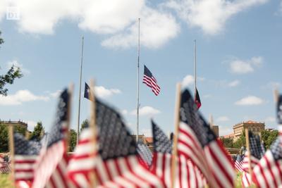 Flags in Memorial Circle in honor of 9/11