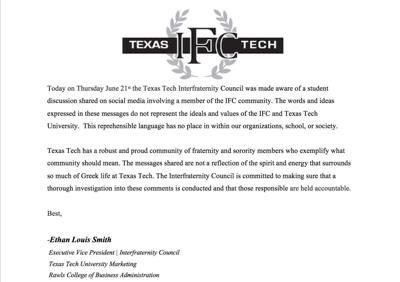 Tech, IFC release statements regarding 'Frat Chat' messages
