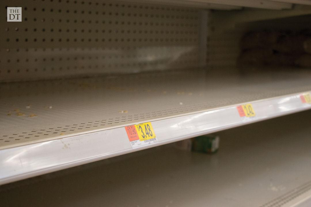 Empty Grocery Shelves Due to COVID-19 Precautions