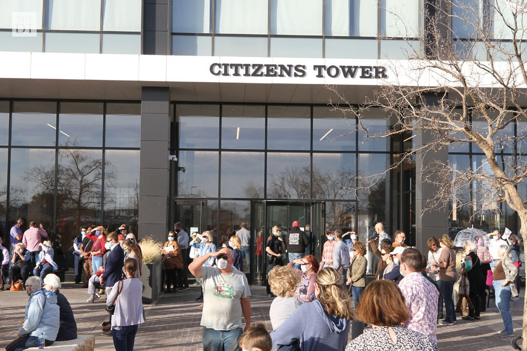 Demonstrators outside of the Citizens Tower