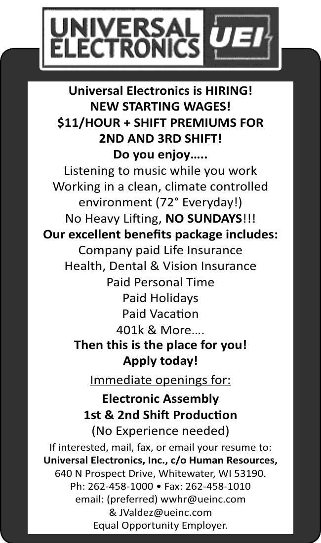 Help Wanted Universal Electronics is HIRING!
