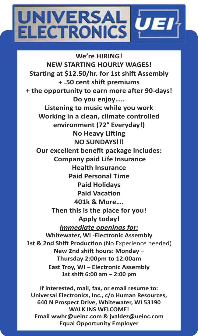 Help Wanted Universal Electronics is HIRING!