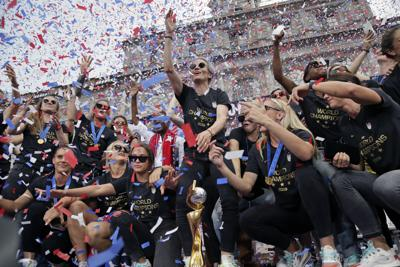 The USWNT celebrates its fourth World Cup title