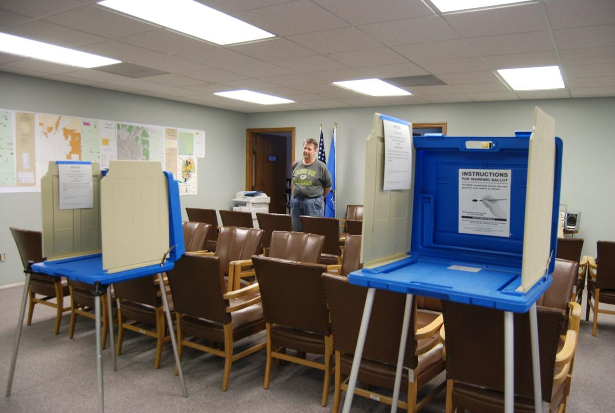 Voting booths at Harmony town hall