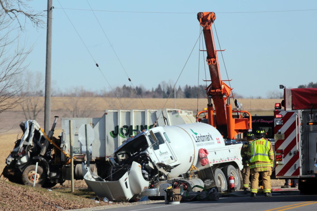 Trucks collide