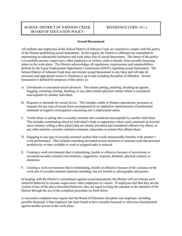 Johnson Creek Policy