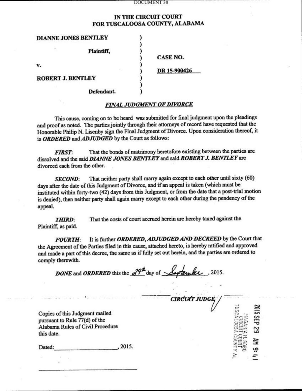 Bentley Divorce Decree Decaturdaily Com