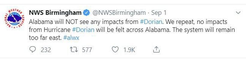 AP fact check: Trump on Dorian's threat to Alabama, gun
