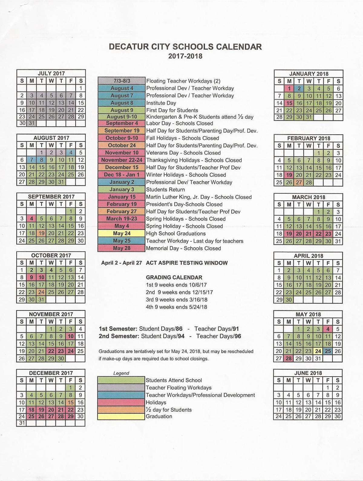 Huntsville City Schools Calendar 2019 16 DCS 2017 2018 Calendar     decaturdaily.com