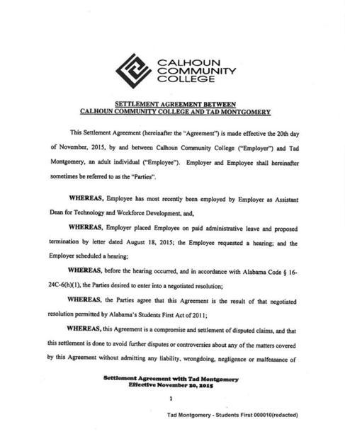 Tad Montgomery Settlement Agreement Decaturdaily
