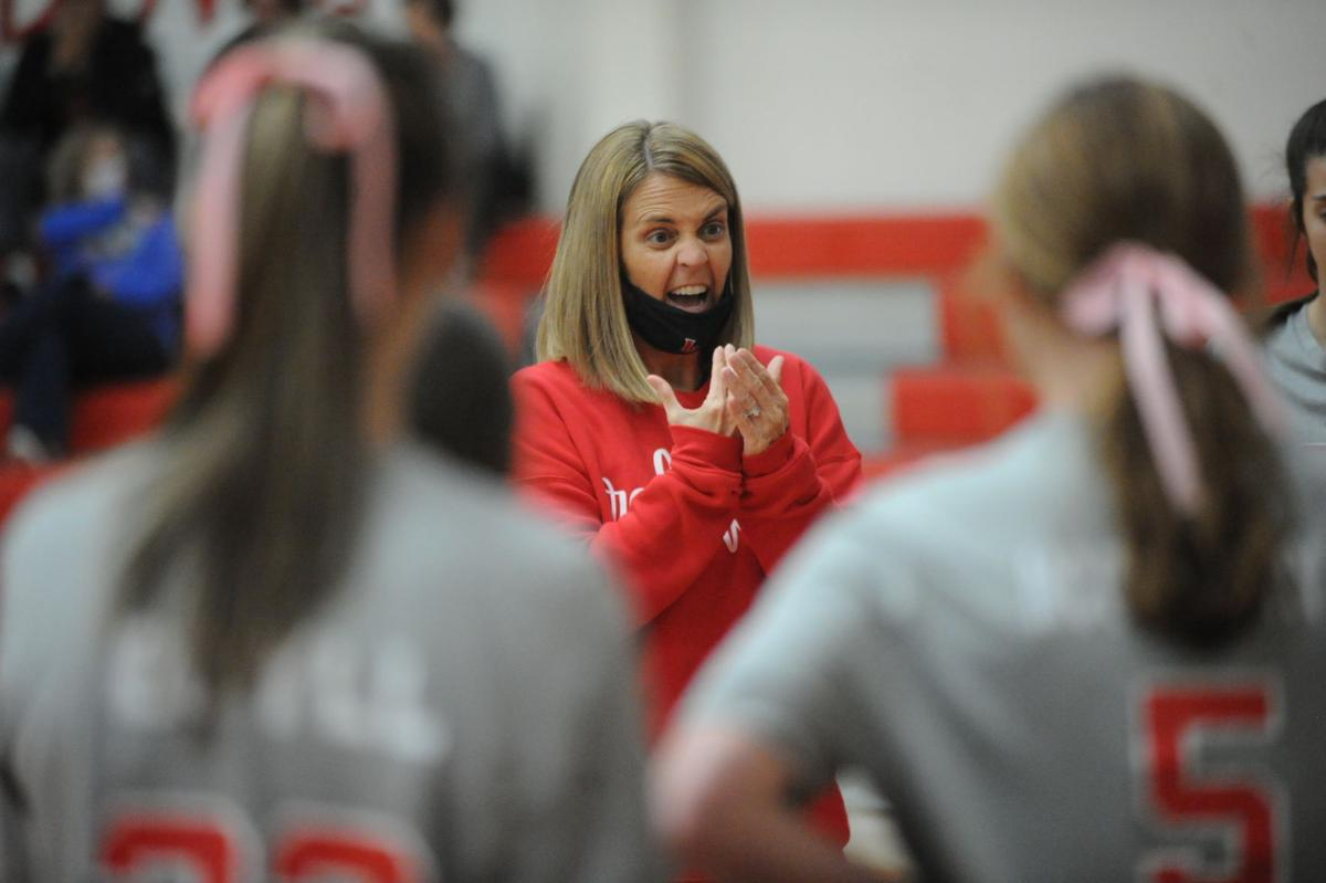 Lawrence County head coach Robyn Hutto gives a passionate speech after her team had 16 unforced errors in the second set of their sub regional match.JPG