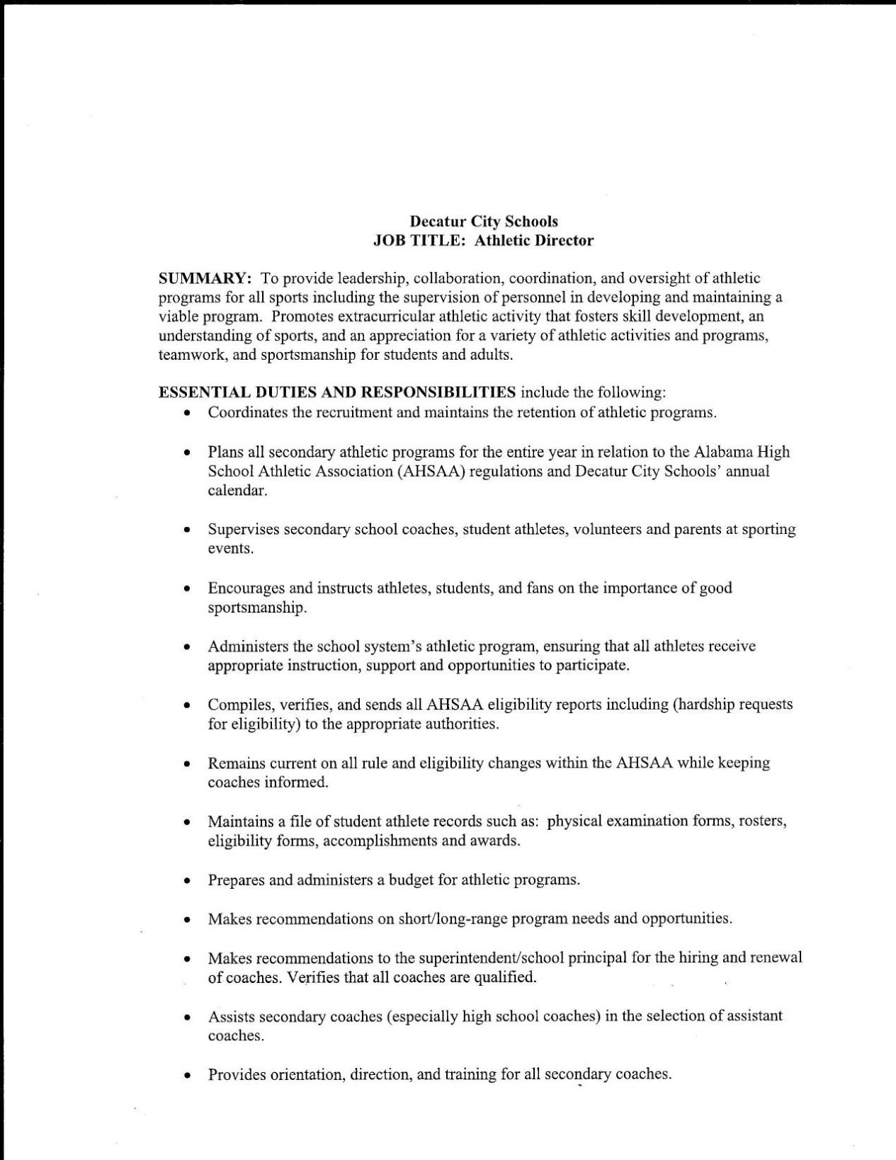 Decatur City Schools Athletic Director Job Description