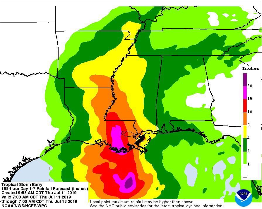 Rainfall prediction map for Barry