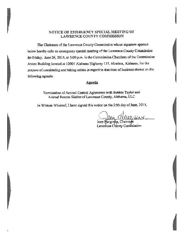 Notice Of Meeting On Animal Control Agreement Decaturdaily