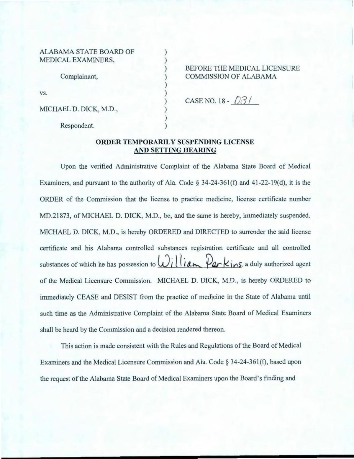 Order To Suspend Dr Michael Dicks Medical License Decaturdaily