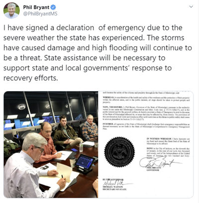 Governor Bryant Signing Emergency Declaration for Mississippi