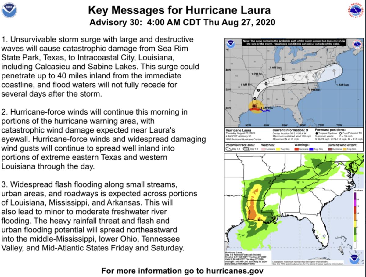 Latest on Hurricane Laura