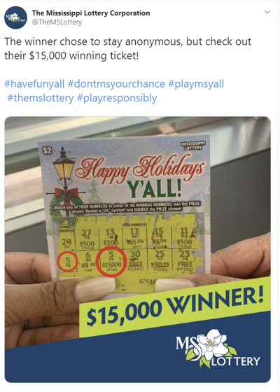 Mississippi Lottery Winner Get 15 Thousand Dollars