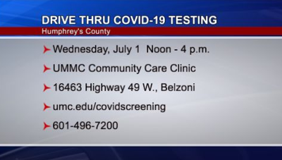 Humphreys County Drive Thru Testing