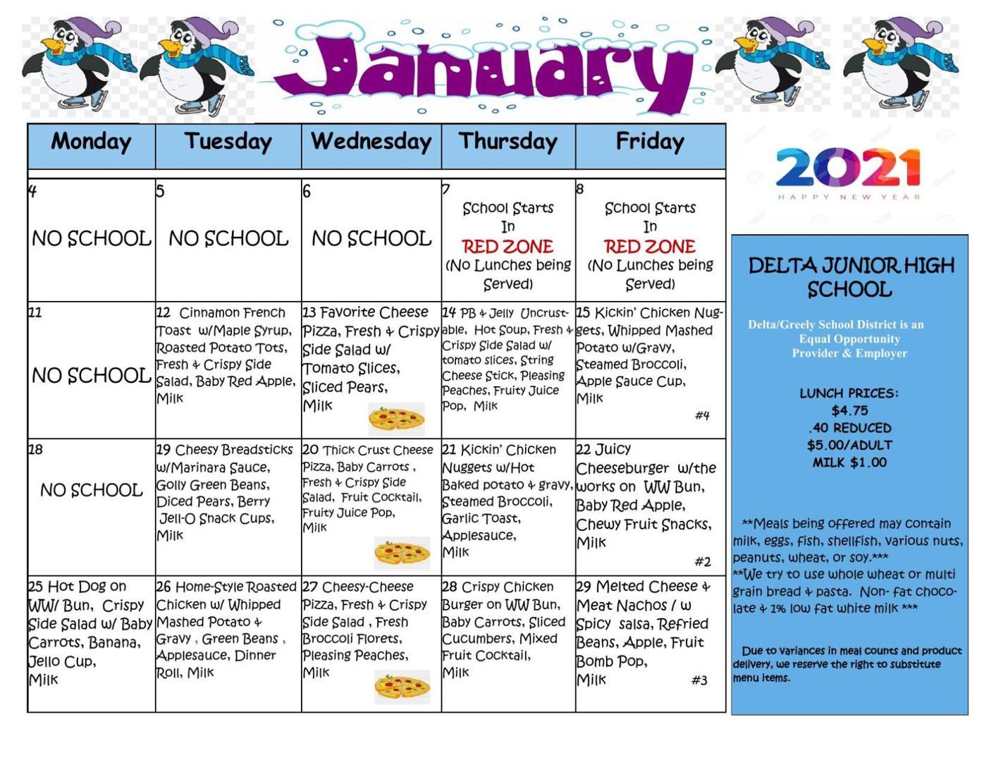 Delta Junior High School Lunch Menu Jan. 2021