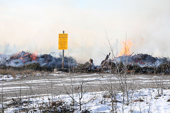 Biomass pile being burned