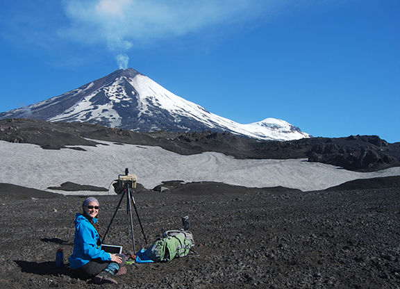 Taryn Lopez near Pavlof Volcano