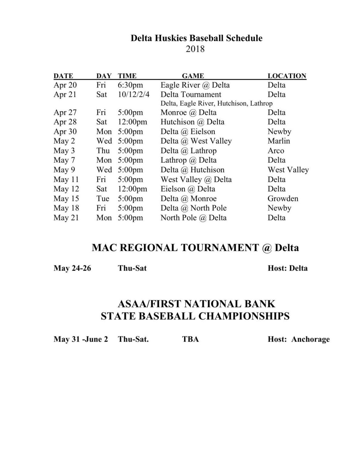 DHS Baseball Schedule