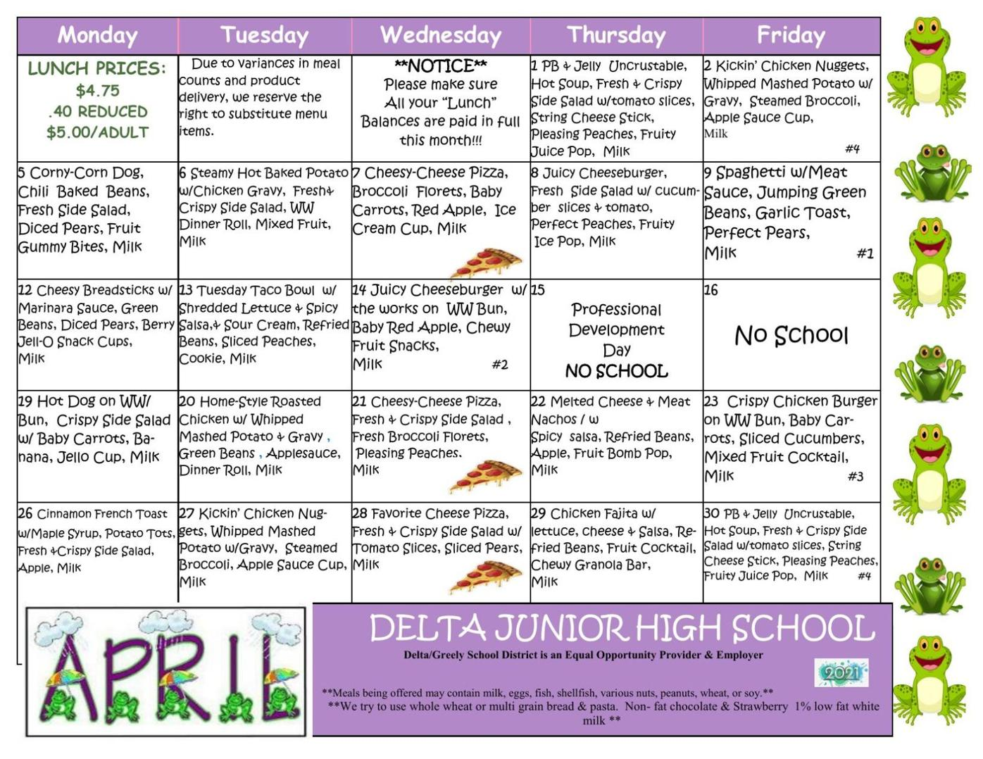 Delta Junior High School Lunch Menu April 2021