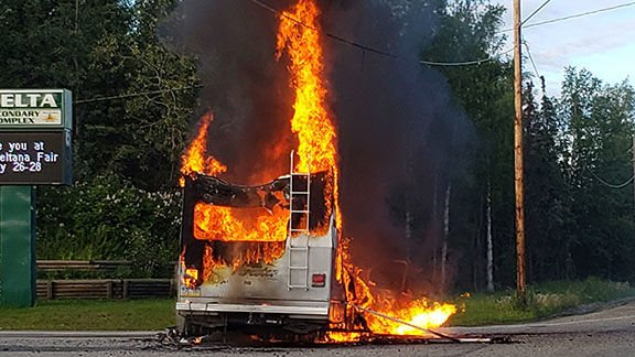 RV Burning at Entrance to Delta High School