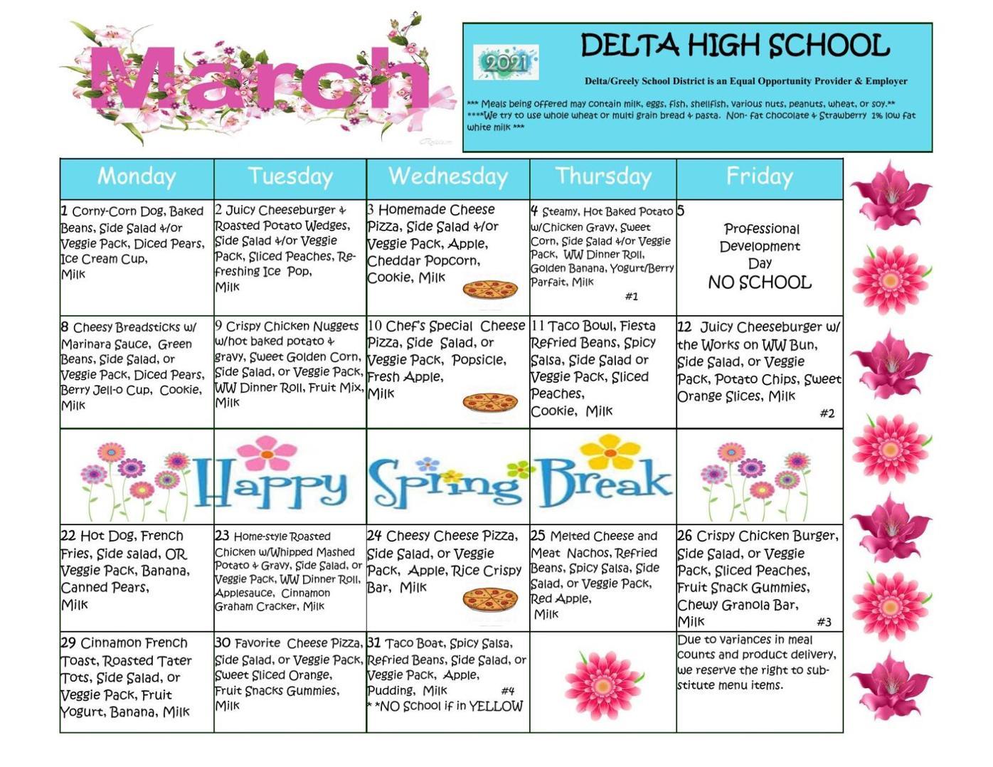 Delta High School Lunch Menu March, 2021