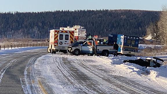 Scene of accident involving ambulance on Richardson Highway