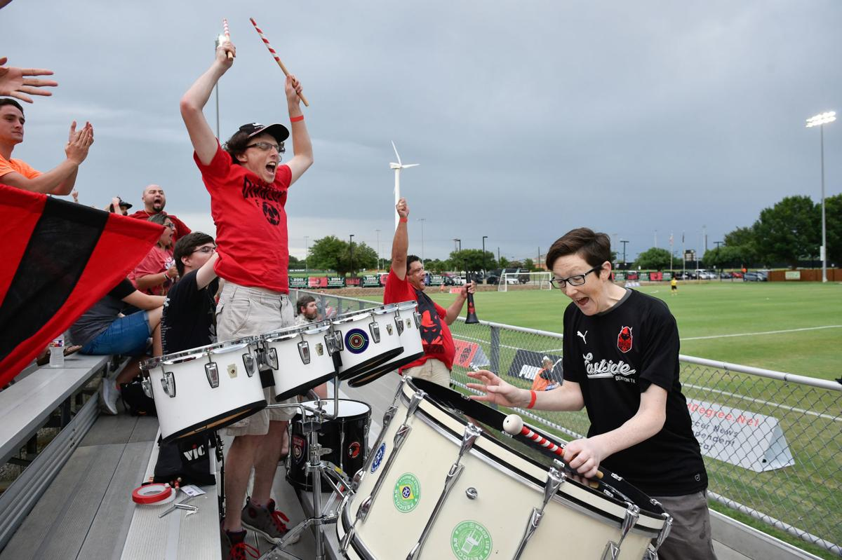 Percussionists cheering
