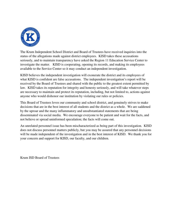 Krum ISD 10-15 Statement