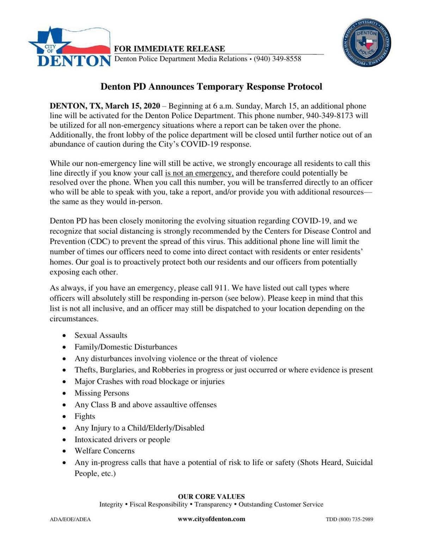 Denton Police Department Temporary Response Protocol