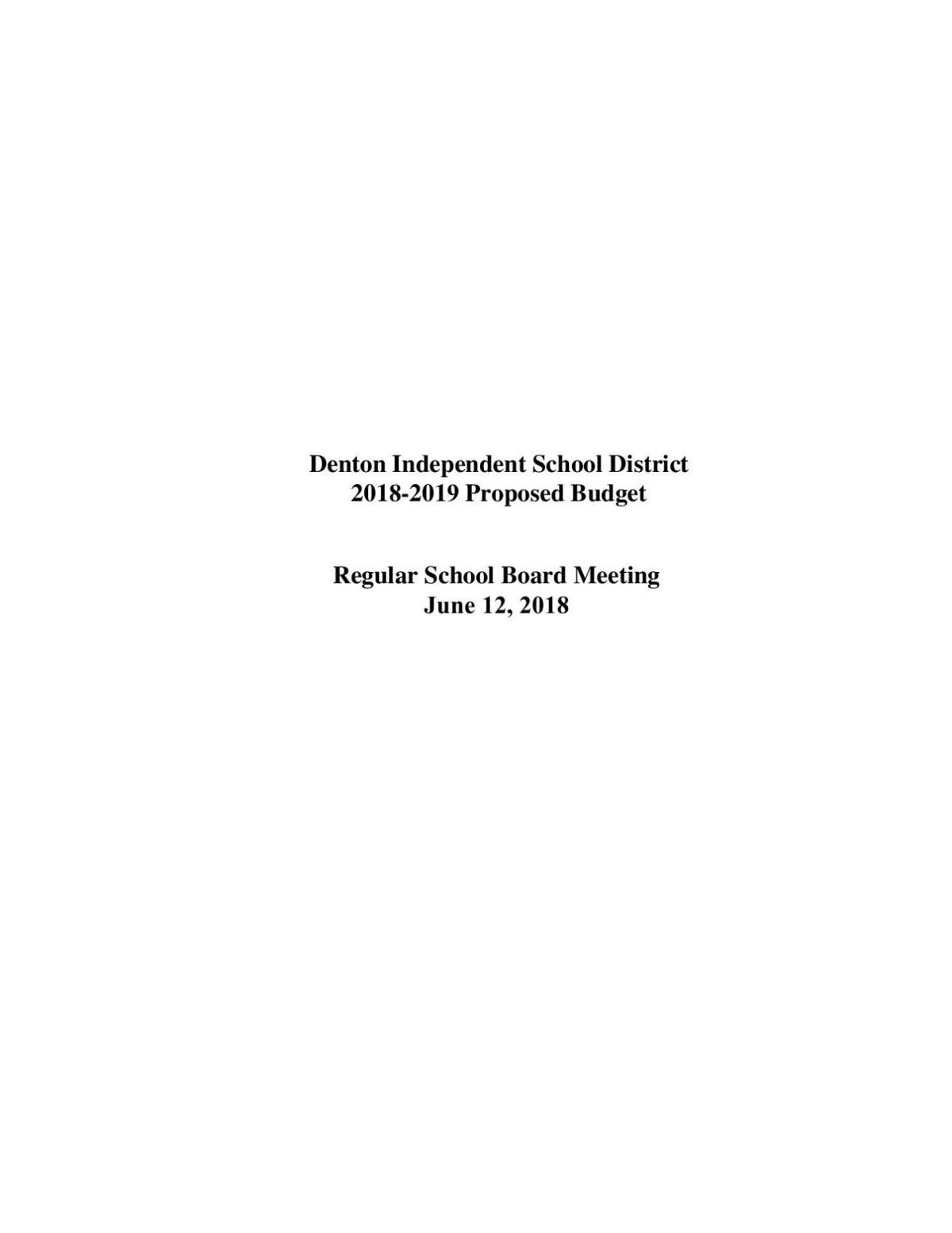 Denton ISD 2018-2019 Proposed Budget