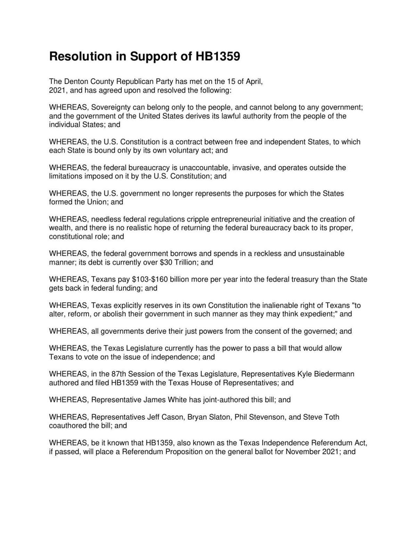 Denton County Republican Party resolution