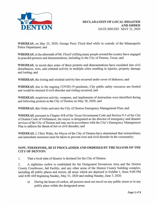 Denton's curfew