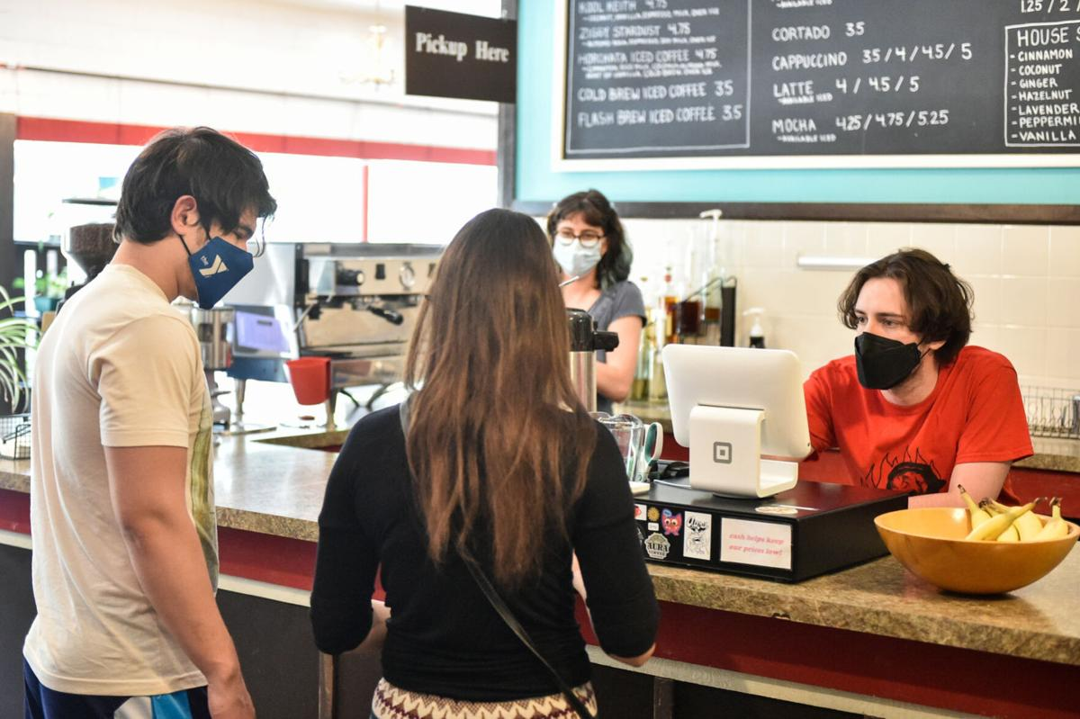 Staff helping customers