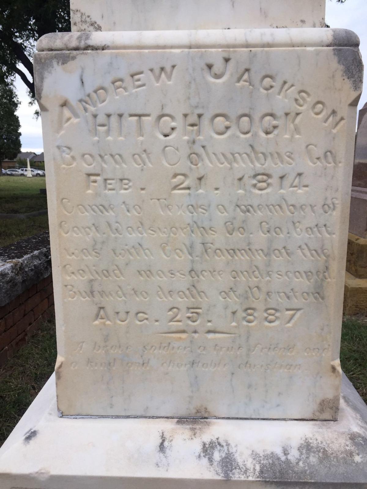 Andrew Jackson Hitchcock's gravestone