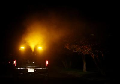 Ground spraying for mosquitoes in Krugerville, Paloma Creek