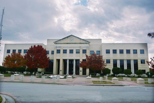 The Denton County Courts Building on E. McKinney St