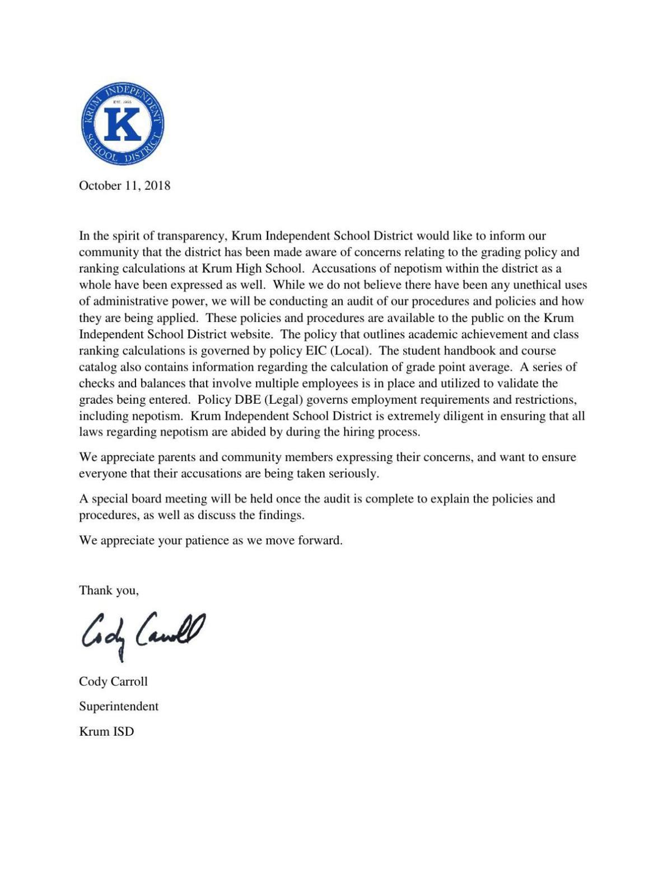Krum ISD Statement