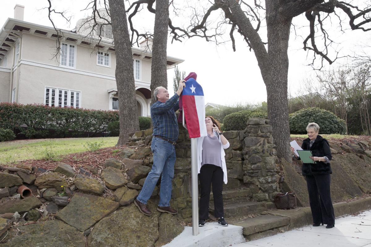 County judge Mary Horn, , local historical home resident, recognize two homes to the Texas Historical Landmarks