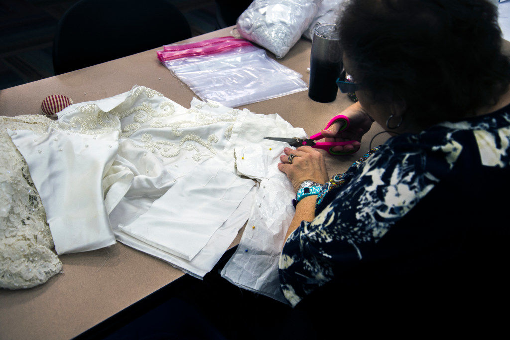 North Texas volunteers turn donated wedding dresses into baby burial ...