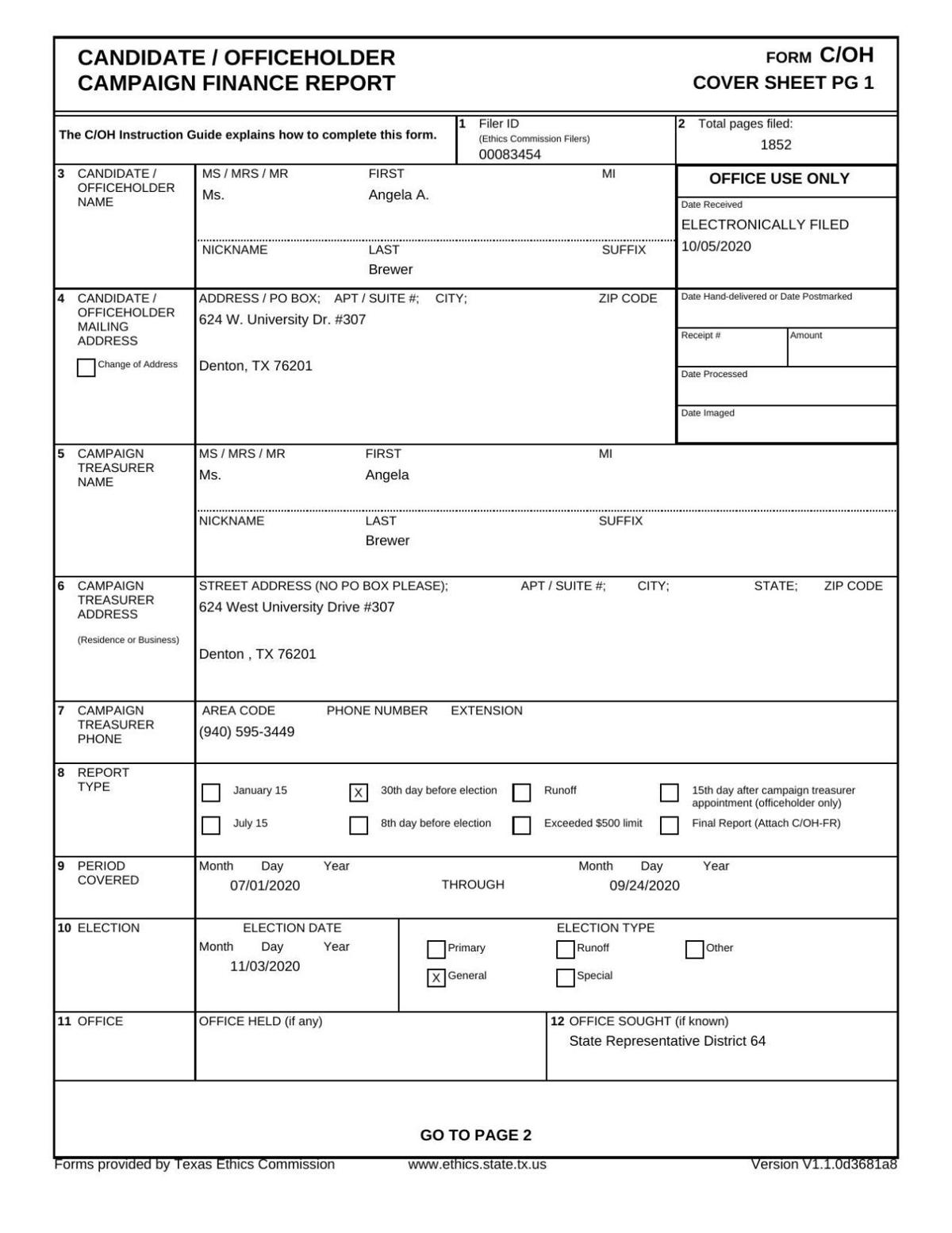 Angela Brewer Campaign Finance Report