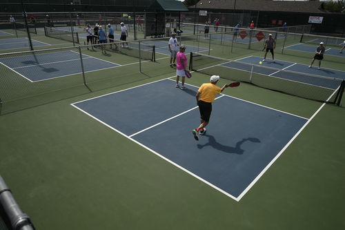 Robson Ranch hosted the Quad States Senior Pickleball Tournament this week. The tournament was for players age 50 and older. Pickleball is a sport combing elements of tennis, badminton and table tennis where players volley a wiffle ball over a net with sol