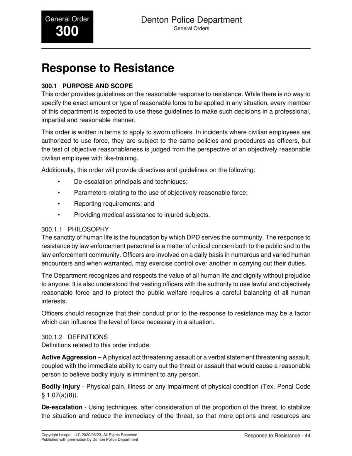 Denton Police Department's Response to Resistance Policies