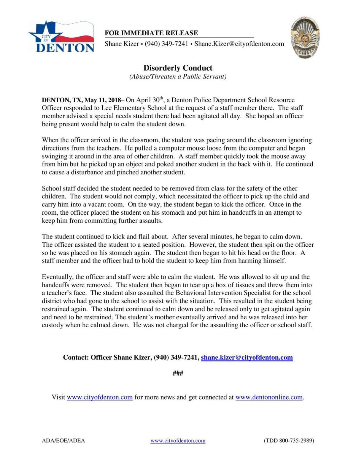 DPD Restraint Press Release
