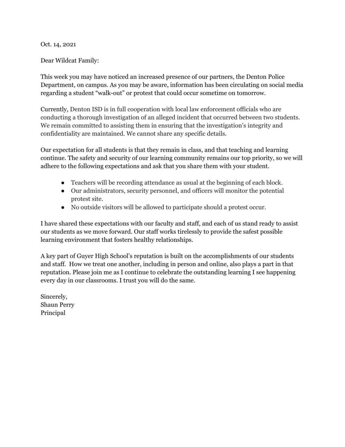 Guyer High School email to parents