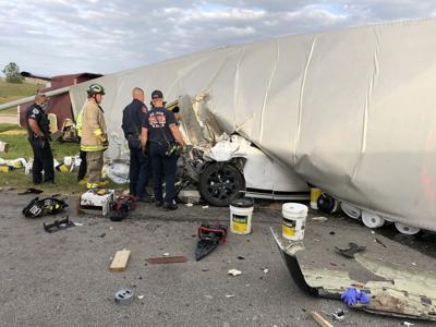 Denton Fire Department overturned semi trailer